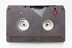 U-matic analogue videocassette. This videotape format was first released in 1971 and was among the first videotape formats to be introduced inside a cassette.