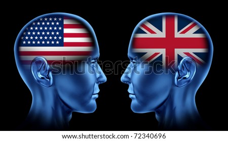 U.S.A and Britain trade relations symbol represented by two faces head to head in cooperation and competition