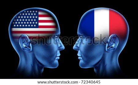 U.S.A and France trade relations symbol represented by two faces head to head in cooperation and competition