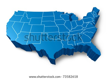 U.S.A 3D map symbol represented by a blue dimensional United States.