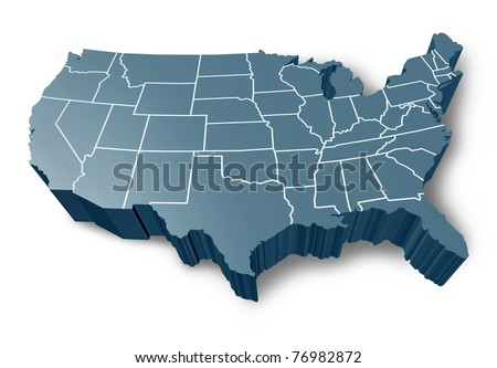 U.S.A 3D map symbol represented by a grey dimensional United States of America. - stock photo