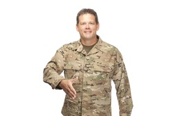 U.S. Army Soldier, Sergeant, shaking hand at job interview on white background.