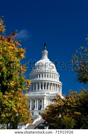 U.S. Capital dome building in the fall. Washington DC
