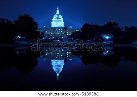 U.S. Capitol at night, Washington D.C.
