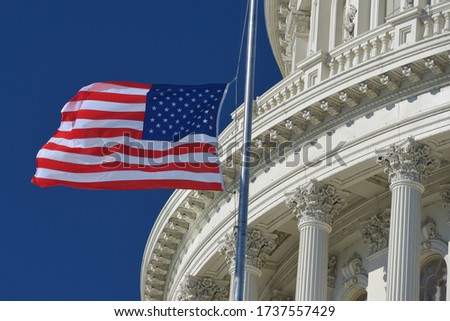 U.S. Capitol Dome  and waving US National flag close-up - Washington D.C. United States of America Foto stock ©