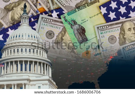 U.S. Capitol in Washington D.C. with Global pandemic Coronavirus Covid 19 lockdown, financial a stimulus bill individual checks from government US dollar bills currency on American flag