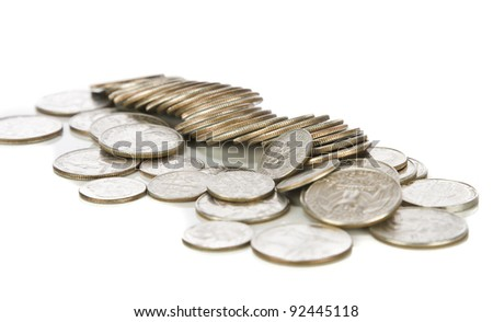 U.S. Coins shot on a white background