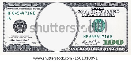 U.S. 100 dollar border with empty middle area Stockfoto ©