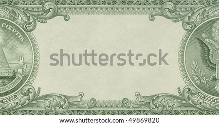 U.S. dollar border with empty middle area - stock photo