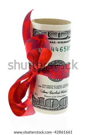 U.S. dollars banknotes with a loop as a gift of money