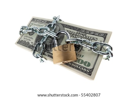 U.S. dollars banknotes with lock and chain. Money stack for safety and investment.