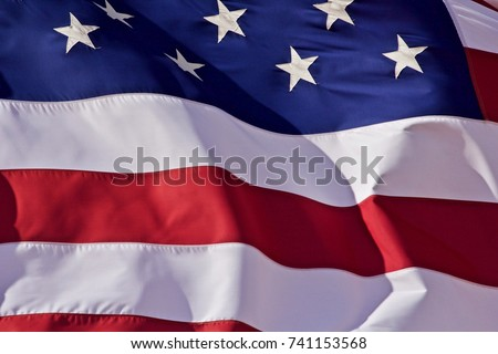 U.S. Flag Closeup - a closeup of the United States flag flying during a stiff breeze in the southwest U.S., fall of 2017 #741153568