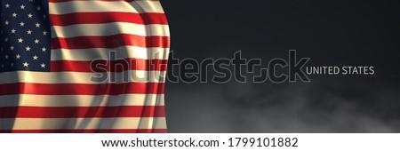 U.S. Flag 3d Rendering with Dark Background Foto stock ©