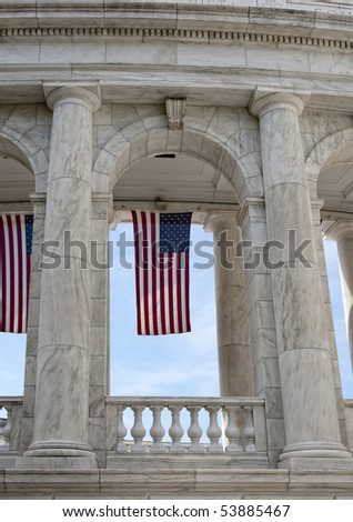 U.S. flag hanging in Amphitheater at Arlington National Cemetery