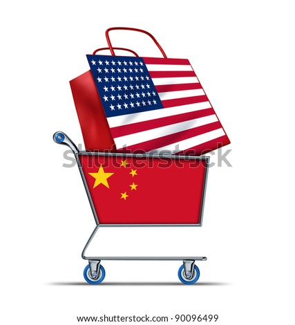 U.S. for sale bailout with China buying American debt with a shopping cart as a Chinese concept and a bag with a flag of the U.S.A. as an economic trading idea of selling U.S. assets to foreigners