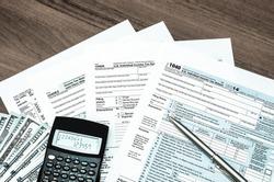 U.S. Individual income tax return. tax 1040. tinted photo
