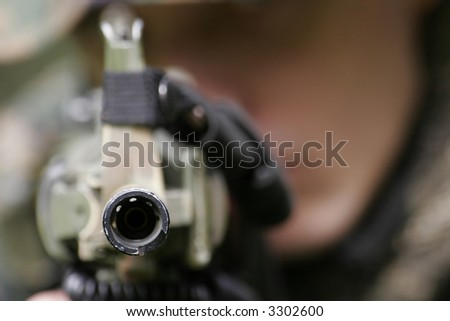U.S. Marine corps Soldier are ready to fight - stock photo