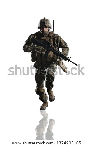 U.S. military marine. soldier. Studio shooting. running pose with reflections. Isolated on white. #1374995105