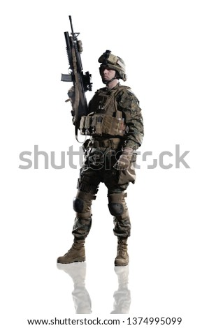 3630bbff30cfb U.S. military marine. soldier. Studio shooting. Standing pose with  reflections. Isolated on
