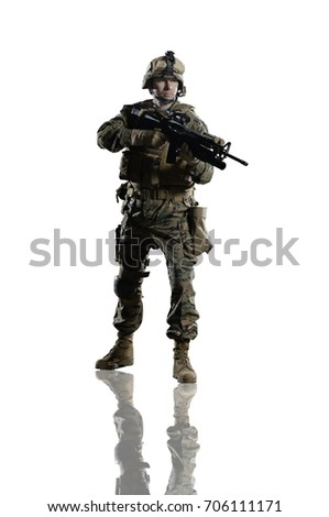 Stock Photo U.S. military marine. soldier. Studio shooting. Turn right. with reflections. isolated on white. With alpha channel - in my gallery.