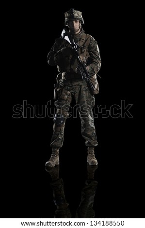U.S. military marine. Studio shooting. frontal pose. with reflections. With alpha channel - in my gallery