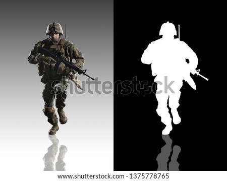 U.S. military marine. Studio shooting. With alpha channel. frontal pose. Running. with reflections. isolated. #1375778765