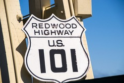 U.S. Route 101 and Redwood Highway road sign.
