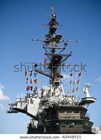 U.S.S. Midway commando bridge and flag tower.