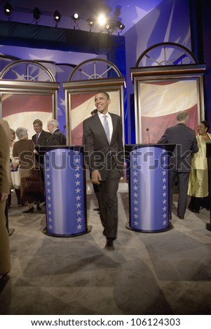 U.S. Senator and Presidential Candidate Barak Obama leaving stage of Iowa Democratic Presidential Debate, Drake University, Des Moines, Iowa, August 19, 2007