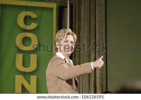 U.S. Senator, Former First Lady and Presidential Candidate, Hillary Clinton gives thumbs up at rally after Iowa Democratic Presidential Debate, Drake University, Des Moines, Iowa, August 19, 2007
