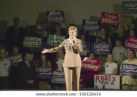 U.S. Senator, Former First Lady and Presidential Candidate, Hillary Clinton, speaking at rally following Iowa Democratic Presidential Debate, Drake University, Des Moines, Iowa, August 19, 2007