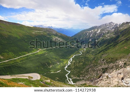 U-shaped valley in Swiss Alps. valley of the river Rhone