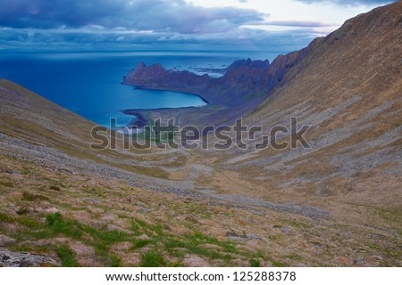 U shaped valley on Lofoten islands in Norway