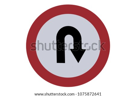 U- turn sign board