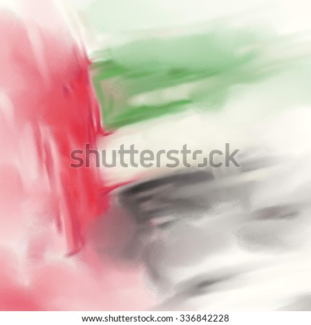 UAE Colors Art, United Arab Emirates Flag Oil Canvas (Digital Oil Painting on Canvas)