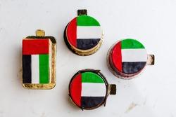 UAE National holiday celebration flag print cake and cupcakes