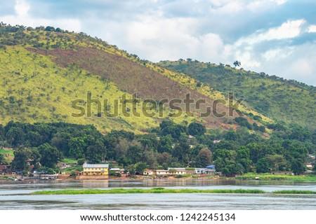 Ubangi river, village in Central African Republic on Ubangi river. Сток-фото ©