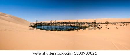 Ubari oasi in the Sahara desert, Fezzan, Libya, Africa Foto stock ©