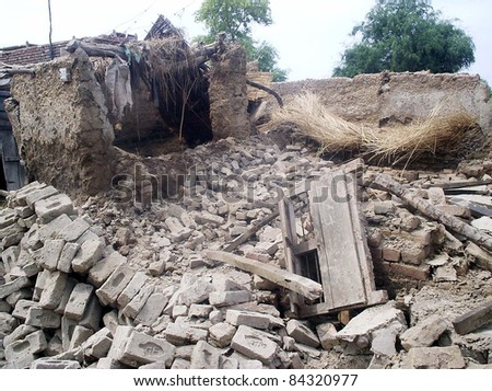 UBAURO, PAKISTAN, SEPT 08: A view of destroyed houses at a rain hit area due to heavy downpour of Monsoon season in Ubauro on Thursday, September 08, 2011 Ubauro.