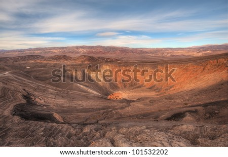 Ubehebe Crater In Death Valley National Park. Its the largest crater in the park with 500 feet deep and 2400 feet in diameter