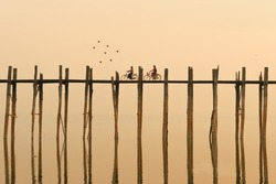 Ubein, World longest wooden bridge at sunrise, Mandalay, Myanmar, morning,evening