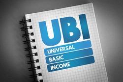 UBI - Universal Basic Income acronym on notepad, concept background