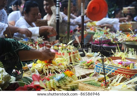 UBUD, BALI, INDONESIA - APRIL 06:  Unidentified local people wearing in traditional indonesian clothes take part in Buda Wage Kelawu ceremony at Hindu temple on April 06, 2011 in Ubud, Indonesia.