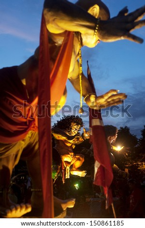 UBUD, BALI , INDONESIA - MARCH 12: Balinese statue Ogoh-Ogoh during the celebration of Nyepi - Balinese Day of Silence on March 12, 2013 in Ubud, Bali, Indonesia.