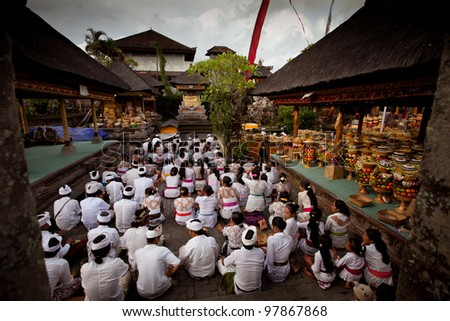 "UBUD, BALI - MARCH 18: Melasti Ritual is performed before Nyepi - a Balinese ""Day of Silence"" that is commemorated every year (in 2012, it is on March 23rd) on March 18, 2012 in Ubud, Bali, Indonesia."