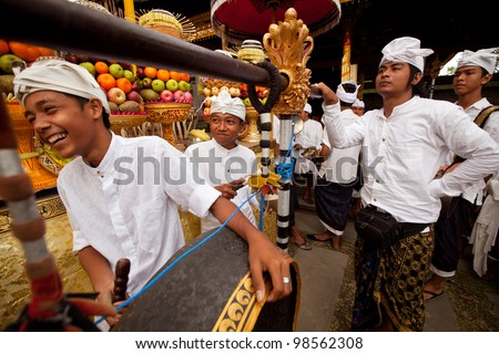 UBUD, BALI - MARCH 22: Unidentified children during the celebration of Nyepi - Balinese Day of Silence on March 22, 2012 in Ubud, Bali, Indonesia. The day following Nyepi is also celebrated as New year.