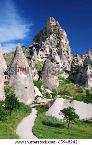 Uchisar, Turkey. Rock carved houses, landmark of Cappadocia.