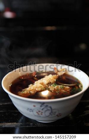 Udon noodles with shrimp tempura