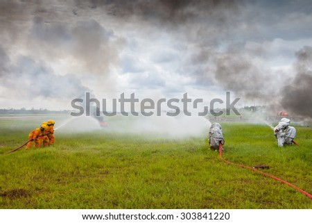 UDONTHANI, THAILAND - AUGUST 4: Search and rescue operation during simulated airplane accident. AUGUST 4, 2015 in Udonthani, Thailand