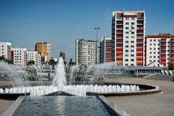 Ufa, a square with a fountain next to the monument to Salavat Yulaev